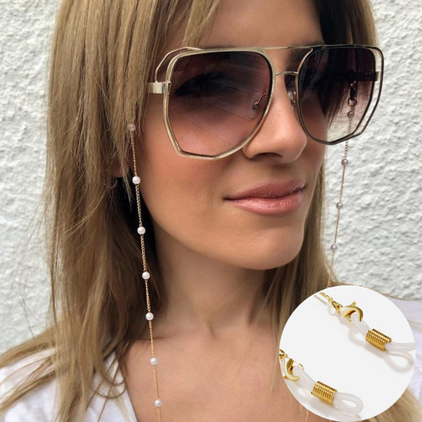 best selling Eyeglasses chain White plastic Bead Pearl Charm gold silver color plated metal chain silicone loops Sunglasses accessory