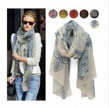 top popular new Europe lady Blue and White Porcelain Style Scarf Voile Women Scarves Shawl 2pcs lot Free Shipping l6Ak# 2021