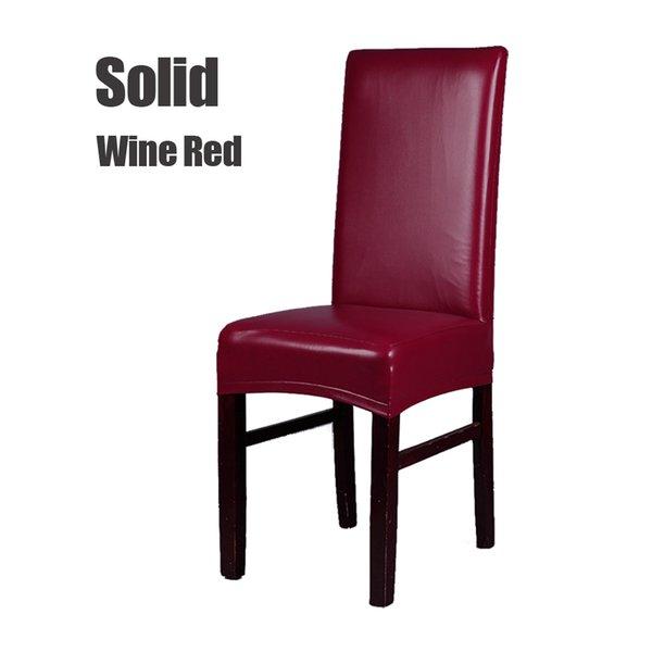 Vino tinto cubierta de la silla de la PU sólida