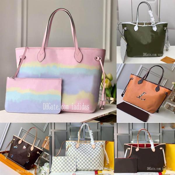 top popular 21 colors never shopping bag old flower women MM large cavans tote messenger bags full handbagneverfullwomen with pouch mens rRKL# 2020