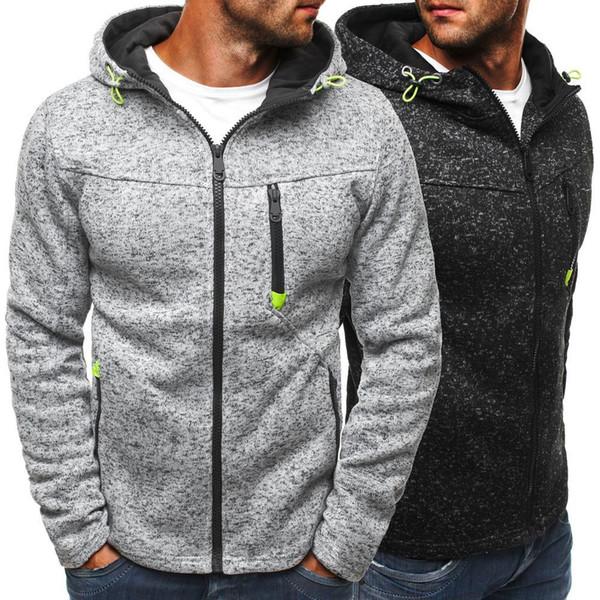 top popular Sweatshirt Men's Casual Zipper Pure Color Hoodies Slim Thickened Fleece Hoodies Fleece Long Sleeve 2020
