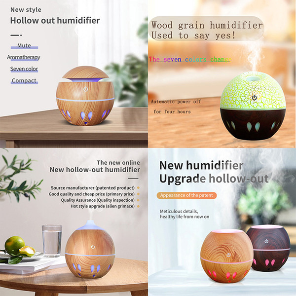 top popular Colorful LED Air Humidifier Purifier Hollow-Out Crack Humidifier Mute Humidification Seven Colors USB LED Light 130MM 5V 3W DHL Free 2021