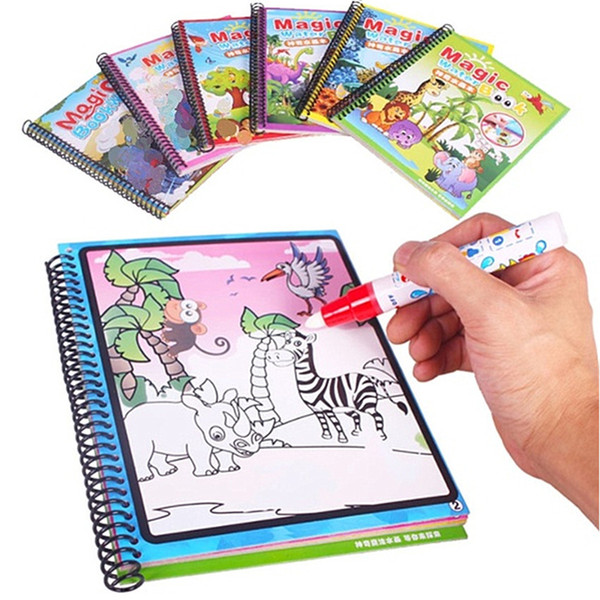 top popular 20 Style Magic Water Drawing Book Coloring Doodle Pen Painting Board For Kids Toys Wholesale Birthday Gift 2021