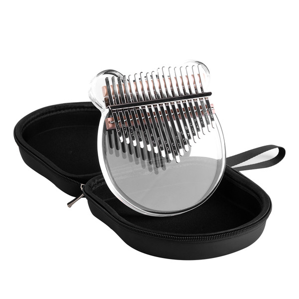 best selling Kalimba Acrylic Thumb Piano 17 Metal Keys with Dustproof and Waterproof and Drop-proof Piano Bag with Mallet
