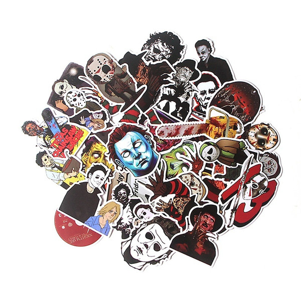 best selling 37pcs Lot Crazy Killer Scrapbooking Stickers Decal For Snowboard Laptop Luggage Car Fridge Skateboard Motorcycle Sticker Decals