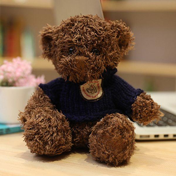 Brown dark blue sweater bear