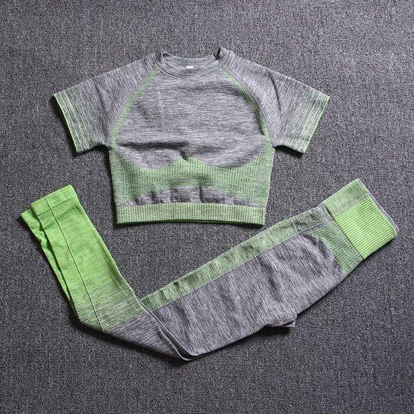 Cinzento verde de manga curta Suit
