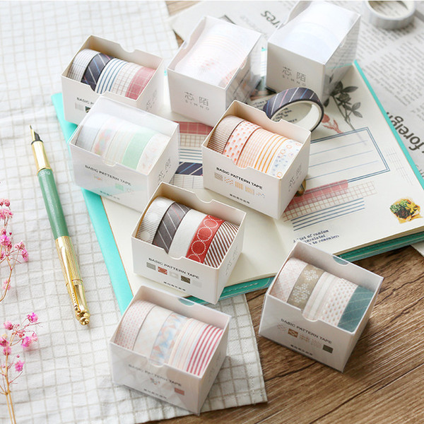 Wholesale scrapbook adhesive tape resale online - heap Office Adhesive Tape Box Basic Floral Pattern Washi Tape Decorative Diary Scrapbook Planner Sticker Kawaii Stationery Papeleri