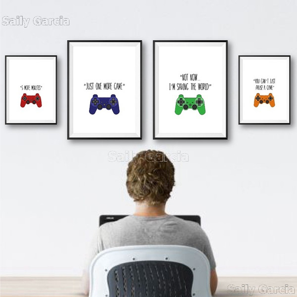 top popular Video Games Quote Canvas Posters Gamer Boy Girl Gift Gaming Sign Game Controller Art Painting Pictures Games Room Wall Decor 2021