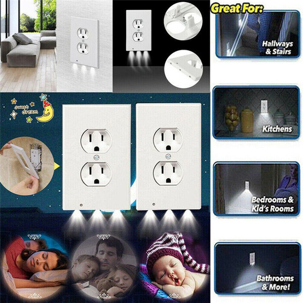 best selling Motion Sensor Led Light Night 110V 0.5W 3LED Plate Plug Cover With LED Lights Angel Outlet Cover Hallway ABS