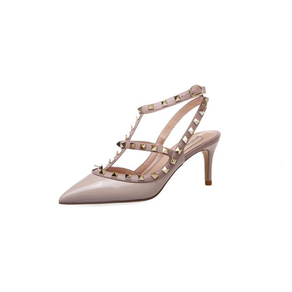 top popular Superstar New pattern One word buckle Simplicity Comfortable Bandage Rivet Stiletto sandals High-heeled Fairy Pointed women's shoes 2020