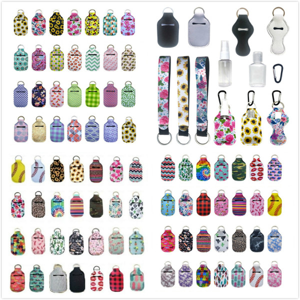 best selling 163 Styles Customize Neoprene Hand Sanitizer Bottle Holder Keychain Bags 30ml Hand Sanitizer Bottle Chapstick Holder With Baseball Keychains