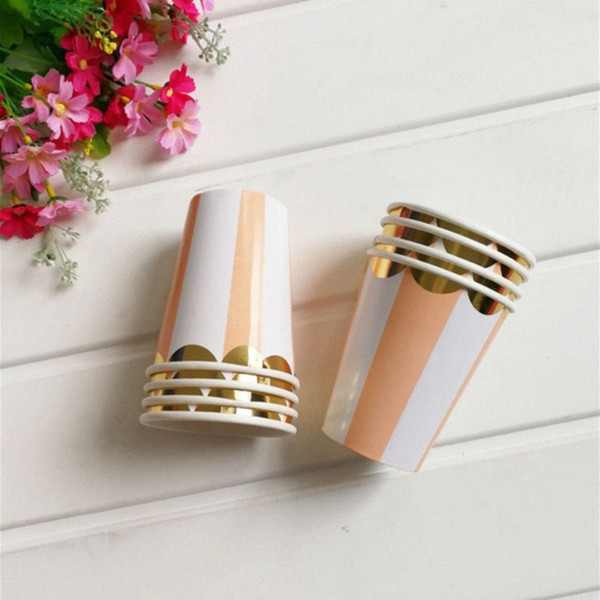 top popular 8pcs Hot Stamping Orange Striped Paper Cup Supplies Children's Birthday Holiday Graduation Wedding Universal Party Decoration H4vL# 2021