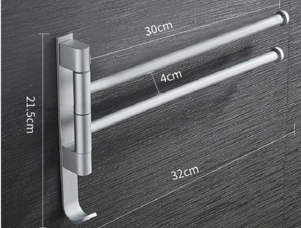 top popular 2020 hot sale Non punching space aluminum towel rack can rotate multi pole bathroom towel bar hardware pendant shelf TR04 2021