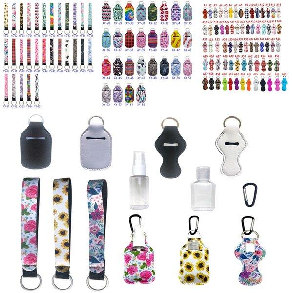best selling 190 Colors Neoprene Hand Sanitizer Holder Chapstick Holder Colorful Chapstick Lipstick Neoprene Keychain Mini Bottle Cover