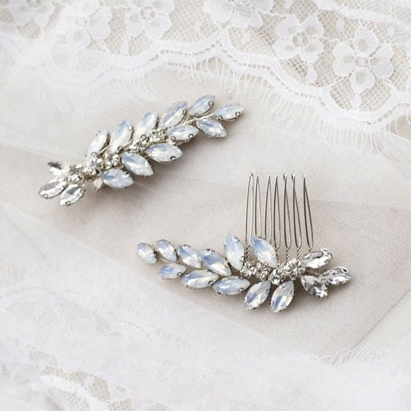 top popular Rosebridalpark Bridal Wedding Crystal Opal Leaf Hair Pins Combs Handmade Headpiece Brides Women Hair Jewelry Accessories 2pcs HXEU# 2021