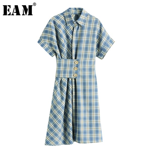 eam] women blue plaid pleated irregular shirt dress new lapel short sleeve loose fit fashion tide spring summer 2020 1x744, Black;gray