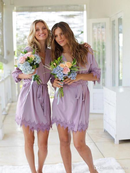 top popular Sexy Silk Satin Wedding Sleepwear Robes Personalized Glitter Print Short Bathrobe Bridesmaid kimono Long Pajamas Summer Night Lady Robe 2021