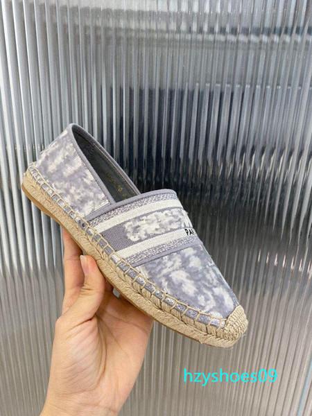 top popular New Obliques Designer Women Granville Espadrilles Sandals Oblique Espadrille print slipper Embroidery Vamp Rope wedges sole 38 Colour h9 2020