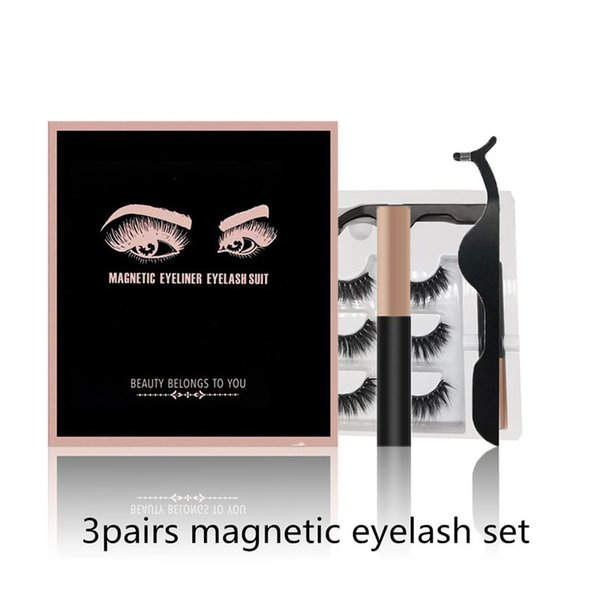 top popular EPACK 14 styles 3 Pairs Magnetic Eyelashes False Lashes +Liquid Eyeliner +Tweezer eye makeup set 3D magnet False eyelashes No Glue Needed DH 2020