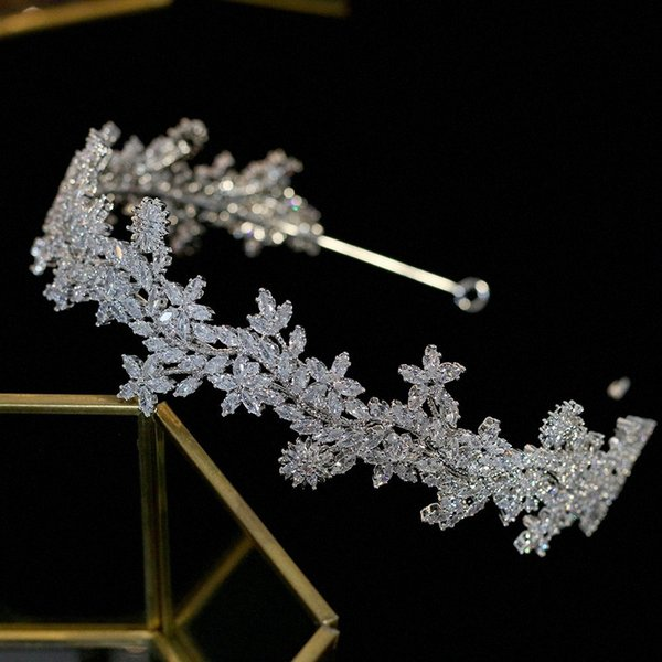 best selling ASNORA Unique design Tiara new bridal jewelry crystal tiara hair accessories wedding zirconia headband wedding crown uVbc#