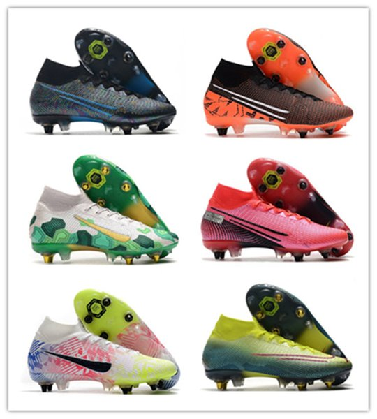 top popular Mercurial 13 Elite SG high soccer shoes sneakers football cleats boots Neymar future lab wavelength Mbappé youth kids adult dream speed 2020