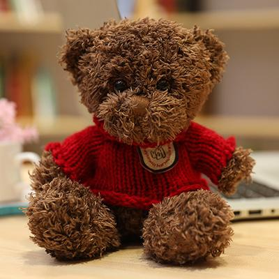 Brown red sweater bear