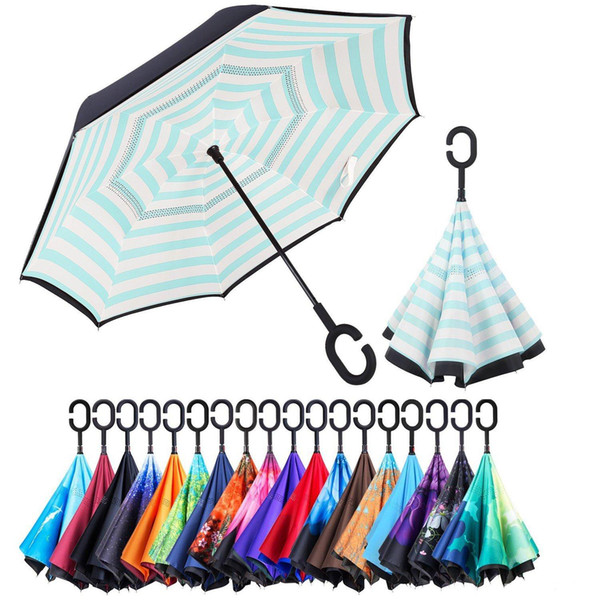 top popular Double Layer Inverted Umbrella Outdoor Factory China 8 Ribs Fold Upside Down Fabric Windproof C-Handle Reverse Umbrella with Bag YM001-064 2021