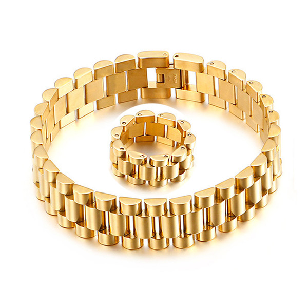 top popular 15mm Men Women Stainless Steel Watch band Strap Bracelet Watchband Wristband Bracelets Rings Gold Hiphop Wrist Strap Link Jewelry 2021