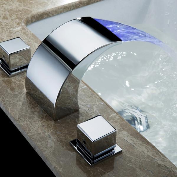 top popular SKOWLL Temperature Controlled Faucet Water Tap Bathroom LED Waterfall Faucet Bathroom Mixer HG-1182DC T200710 2021