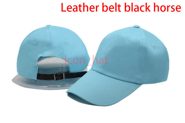 Light blue with Leather belt black horse
