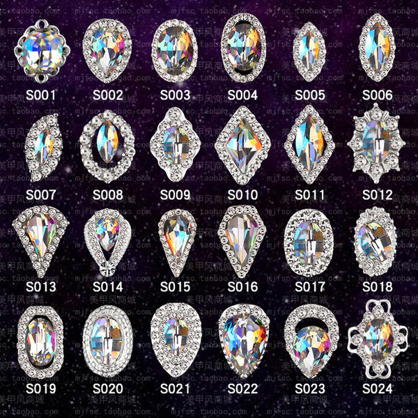 top popular 76 Styles 3D Nail diamond decoration Nail Art Rhinestones DIY nail stick Special shape Glass Manicure Accessories 2021