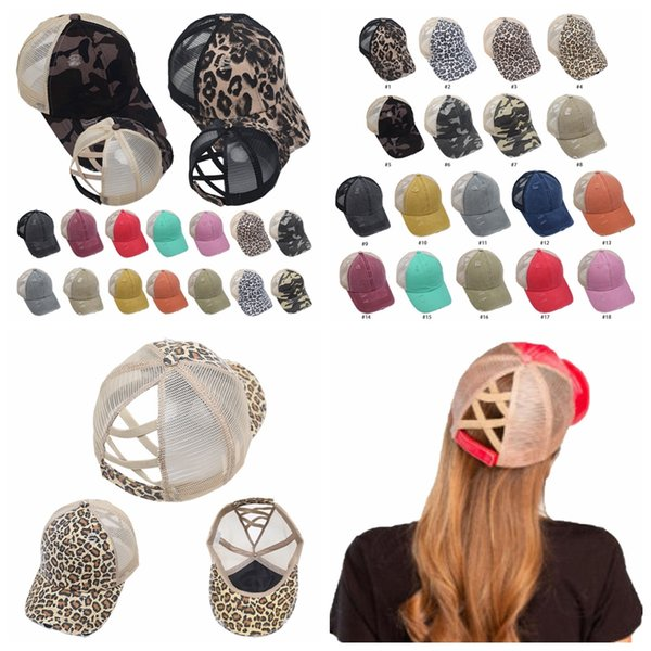 best selling Ponytail Baseball Caps Washed Messy Buns Hats Leopard Camo Criss Cross Pony Cap Outdoor Visor Snapbacks Caps Party Hats 18styles RRA3390