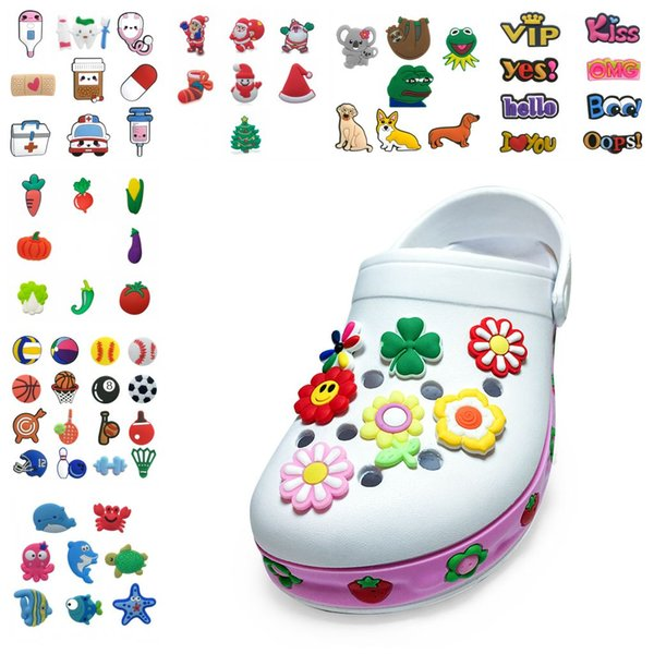 top popular Free DHL 1500Pcs Cartoon character PVC Rubber Shoe Charms Shoe Accessories clog Jibz Fit Wristband Croc buttons Shoe Decorations Gift 2021