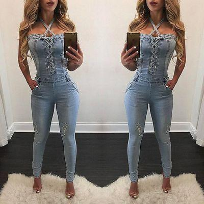 top popular new fashion sexy summer bandage Women Fashion Denim Jeans BIB Pants Overalls Straps Jumpsuit Rompers Trousers 2020