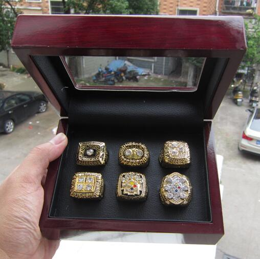 6pcs Steele r ring set with wooden box