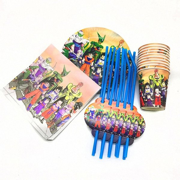 best selling 80pcs pack theme disposable plates cups napkins theme cups straws 20people use 9lAc#
