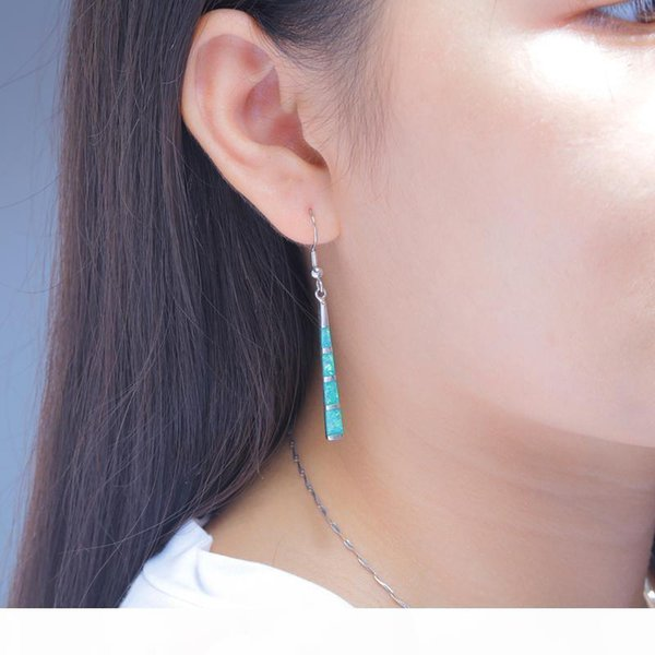 u wholesale created green fire opal silver plated earrings wholesale retail noble for women jewelry dangle earrings 2 1 8 &quot ;oh3635