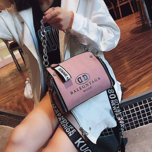 scrub leather messenger bag 2020 new fashion women handbags letter wide strap chains design bucket shoulder bag bolsa feminina
