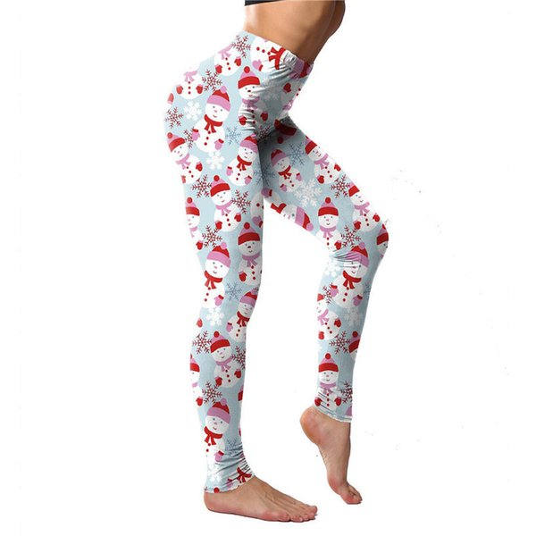 woman fitness slim leggings design christmas snow deer ankle-length floral print stripe pants holiday santa legging, Black