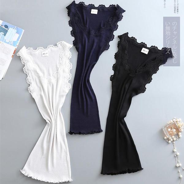 top popular 4 Colors 20% Cotton 80% Nature Silk Ladies Fashion Lace Vest Slim Sexy Elegant Camisoles High Elastic Bottoming Female Tanks 2021