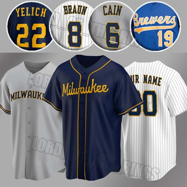 top popular Milwaukee Custom 22 Christian Yelich Jersey Brewer Robin Yount Jerseys Ryan Braun Jersey Lorenzo Smoak Brandon Woodruff Baseball Jersey 2020
