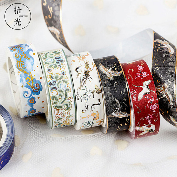 Cheap Office Adhesive 1.5cm*5m Bronzing wave pattern washi DIY decoration scrapbooking planner masking adhesive tape kawaii stationery