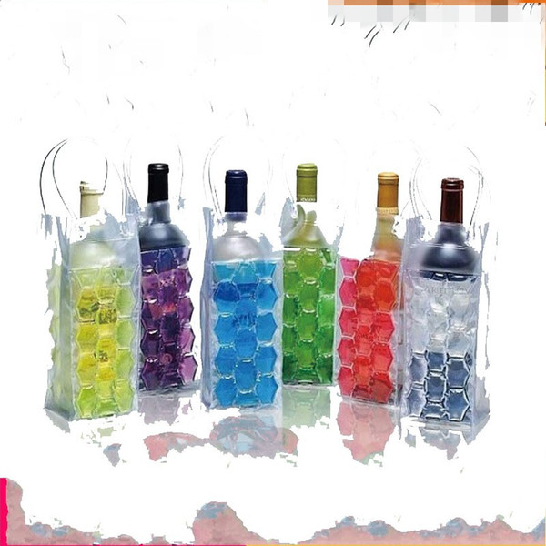 best selling Wine Cooler Bags PVC Beer milkice pack ice Bag portable travel two sides Colored Glue bead hand carry 6 5mj D2
