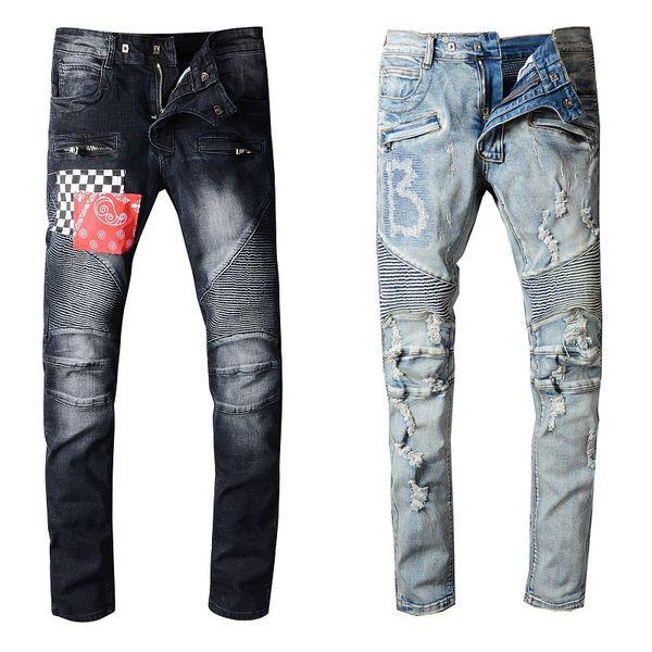 top popular Mens Pants Stylist Jeans Distressed Ripped Biker Jean Men Women Slim Fit Motorcycle Biker Denim Jeans Hip Hop Mens Jeans Size 29-40 2021