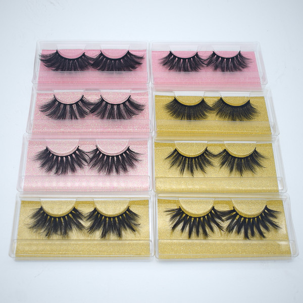 top popular 5D 20-25mm 3D Mink Eyelashes 8 styles Eye makeup Mink False lashes Soft Natural Thick Fake Eyelashes 3D Eye Lashes Extension Beauty Tools 2020