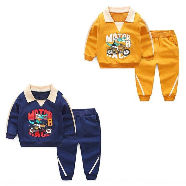 children's children's wear autumn 2020 new set cartoon small crocodile printed lapel sports two-piece set