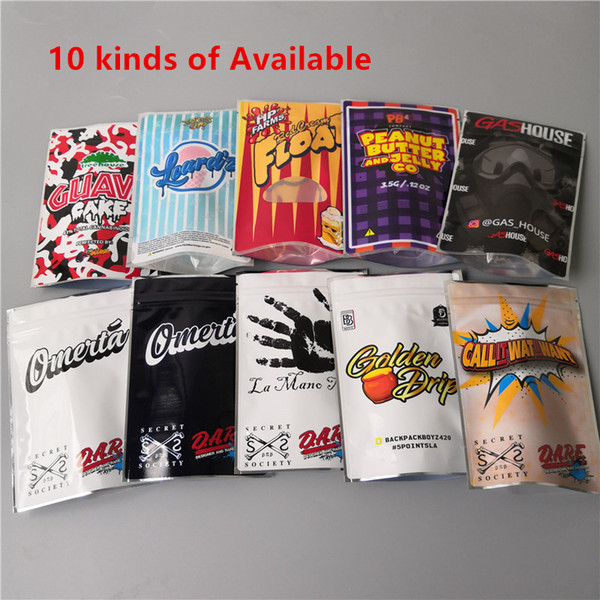 top popular 10 kinds 3.5g Gas house Red cream Float cookies bags mylar bag Guava cake Leardz Smell Proof Packaging Bag 2021