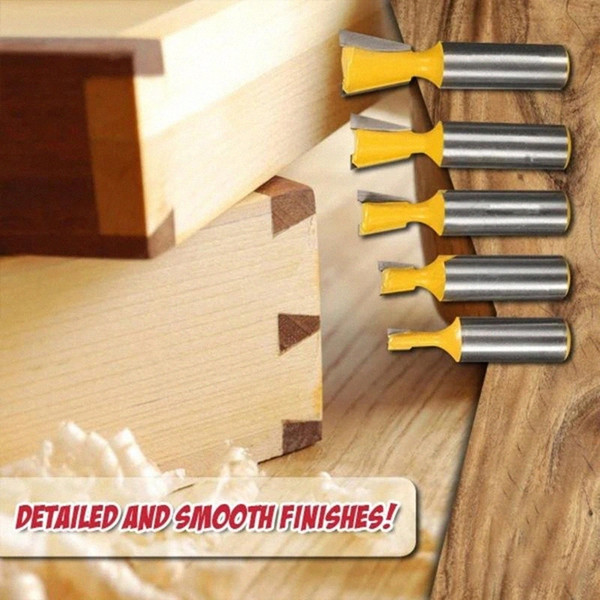 best selling 5PCS Dovetail Joint Cutting Router drill Bit Slotted Dovetail Knife 1 4 3 8 1 2 5 8 3 4 inch smooth finishes Cemented Carbide 67 9z8S#