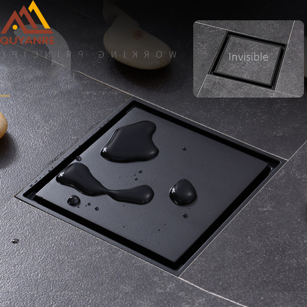 top popular Quyanre Matte Square Invisible Bathroom Waste Grate 10X10cm Shower Black Floor Tile Insert Drain T200715 2021